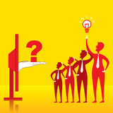 New idea concept design. People find new idea for question by online problem concept design Royalty Free Stock Photos