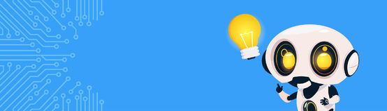 New Idea Concept Robot Hold Light Bulb Over Circuit Background With Copy Space. Flat Vector Illustration Royalty Free Stock Photos