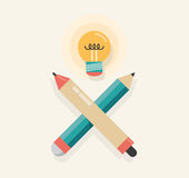 New Idea! Graphic tablet stylus with pencil and li. Graphic tablet stylus with pencil and lightning lamp (like skull and crossbones) symbolizing new idea Royalty Free Stock Images