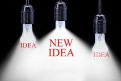 New idea and Innovation concept. Creative Business Idea. Light bulb on the black background royalty free stock photo