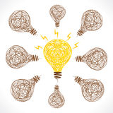 New idea or new solution of problem with glow bulb concept Royalty Free Stock Photo