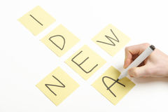 New Idea. Puzzle of yellow paper with text new idea stock photo