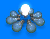 New ideas concept with bulbs on blue Royalty Free Stock Image