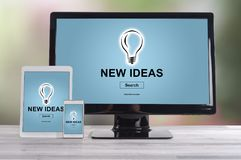 New ideas concept on different devices. New ideas concept shown on different information technology devices Royalty Free Stock Photo