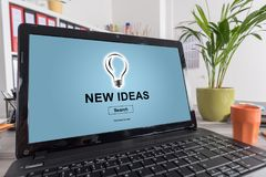 New ideas concept on a laptop. Laptop screen with new ideas concept stock illustration