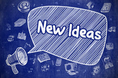 New Ideas - Doodle Illustration on Blue Chalkboard. Royalty Free Stock Photography