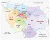 New ile de france administrative and political vector map Royalty Free Stock Photography