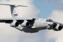 New Ilyushin IL-76MD-90A IL-476 78650 makes demo flight in Zhukovsky during MAKS-2013 airshow. ZHUKOVSKY, MOSCOW REGION, RUSSIA - JULY 14, 2014: New Ilyushin IL Royalty Free Stock Photo