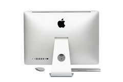 New iMac desktop computer. Mid 2011 model with Apple inc. launched a new operation system for desktop called Mac OS X Lion (version 10.7 stock images