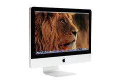New iMac desktop computer. Mid 2011 model with Apple inc. launched a new operation system for desktop called Mac OS X Lion (version 10.7 royalty free stock image
