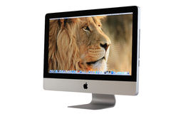 New iMac desktop computer. Mid 2011 model with Apple inc. launched a new operation system for desktop called Mac OS X Lion (version 10.7 stock photos