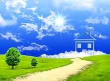 New imagination of the house on a green meadow stock photo