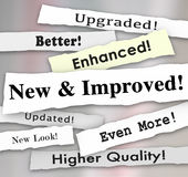 New and Improved Newspaper Headline Better Product Update Upgrad. New and Improved newspaper headlines or announcements on a better product upgrade or update Royalty Free Stock Photography