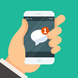 New incoming message - email received icon on smartphone Royalty Free Stock Photos