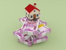 New Indian Currency with House Model Stock Photo