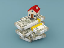 New Indian Currency with House Model. 3D Rendered Image Royalty Free Stock Photos
