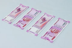 New Indian currency of 2000 rupee notes. Stock Photo