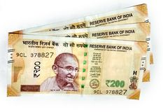 New Indian currency of 200 rupee notes royalty free stock photos