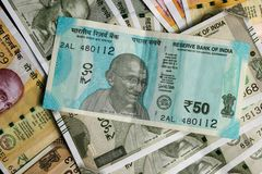 New Indian currency,50, 200 and 500 rupees note as background royalty free stock photography