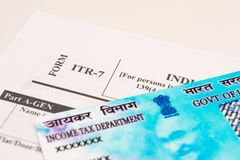 New Indian ITR-6 Income tax Form with PAN or Permanent Account Number on isolated background stock image