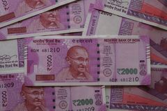 New indian money. 2000 rupees bill, new indian note Stock Photo