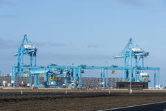 New industrial cranes in the europoort Stock Photo