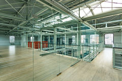 New industrial interior with windows Stock Photography