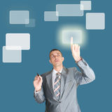 New information technology. Successful businessman choose new information internet technology Royalty Free Stock Images