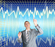 New information technology. Successful businessman choose new information internet technology Royalty Free Stock Photo