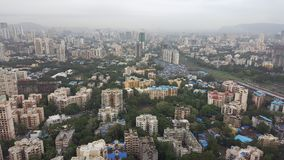 New infrastructure complex developing suburbs of Mumbai. Mumbai is financial capital of India. New tall high rise apartment buildings are developing in far Stock Photography