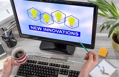 New innovations concept on a computer. Screen stock photo