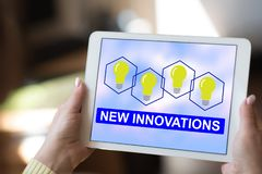 New innovations concept on a tablet. Tablet screen displaying a new innovations concept royalty free stock images