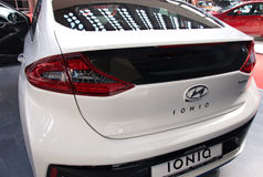 New innovative hybrid Hyundai Ioniq model at the Belgrade Motor Show Stock Image