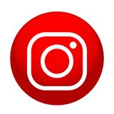 New Instagram camera logo icon in red vector with modern gradient design illustrations on white background. New Instagram camera logo icon vector with modern vector illustration