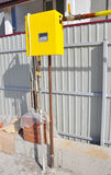 New Installed Gas Pipes Connection with  Natural Gas Meter on the Construction Site Outside. Natural gas pipe installation. Royalty Free Stock Photos