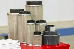 New intake gas and  air and oil suction filter elements for industrial.  stock image