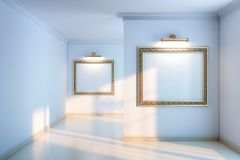 New interior gallery with wooden parquet and empty frames and lighters Royalty Free Stock Image