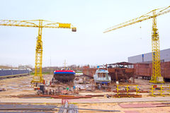 New investments in shipbuilding. Ships in the production of shipyard depot,photography Royalty Free Stock Photos