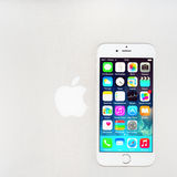 New iOS 8.1 homescreen on an iPhone 6 display Royalty Free Stock Image