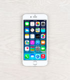 New iOS 8.1 homescreen on an iPhone 6 display Royalty Free Stock Images