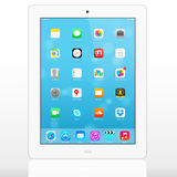 New iOS 7.1.2 homescreen on an white iPad display Stock Image
