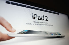 New iPad 2. SAN FRANCISCO - MARCH 2: Apple on took the wraps off of its second-generation tablet, officially dubbed iPad 2, with a completely new, thinner design royalty free stock photo