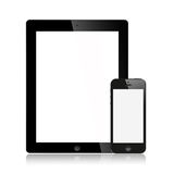 The New Ipad (Ipad 3) and iPhone 5 black Isolated vector illustration