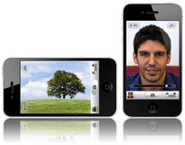 New iPhone 4 with 5-megapixel camera. The new iPhone 4 will feature a 5-megapixel camera with LED flash. And both lenses (front and back) will be 5-megapixel royalty free illustration
