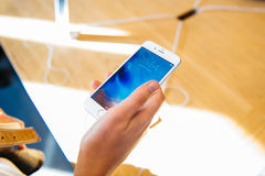 New iPhone 6S and iPhone 6s Plus in hand Royalty Free Stock Photography