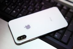 New Iphone X in white color Stock Photography