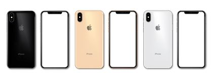 New iPhone Xs in 3 colors. New iPhone Xs black gold and silver. Apple releases the brand new iPhone Xs. Highest quality vector eps 10 illustration royalty free illustration