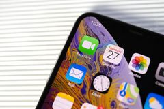 Free New Iphone Xs Max With All Home Apps White Background, Stock Photo - 127485000
