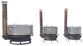 A new iron wood stove on a white. Background royalty free stock photo