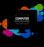 New isolated black computer. The latest technological miracle Monoblock PC model vector illustration on colorful circle. Background royalty free illustration